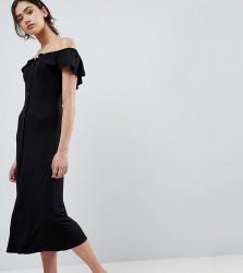 ASOS TALL Off Shoulder Button Through Midi Sundress - Black