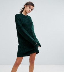 ASOS TALL Oversized Knitted Dress with Cable Detail - Green