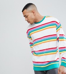 ASOS TALL Oversized Sweatsirt In Rainbow Towelling Stripe - White