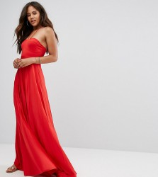 ASOS TALL Pleated Maxi With Strappy Neck Dress - Red