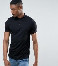 ASOS TALL Polo Shirt In Black - Black