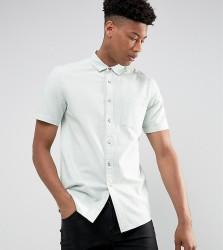 ASOS TALL Regular Fit Textured Shirt In Blue - Blue