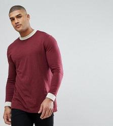 ASOS TALL Relaxed Skater Long Sleeve T-Shirt With Contrast Turtle Neck And Curved Hem - Multi
