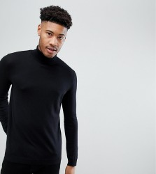 ASOS TALL Roll Neck Cotton Jumper In Black - Black