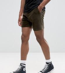 ASOS TALL Shorts In Khaki Velour - Green