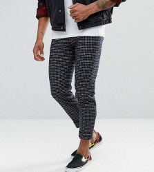ASOS TALL Skinny Crop Smart Trousers In Navy Grid Check - Navy
