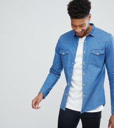 ASOS TALL Skinny Denim Western Shirt In Mid Wash - Blue