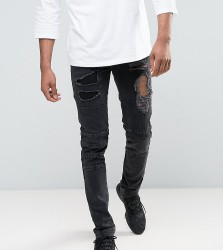 ASOS TALL Skinny Jeans With Biker Zip And Rips Details In Washed Black - Black