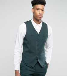 ASOS TALL Slim Suit Waistcoat in Green - Green