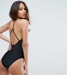 ASOS TALL Square Neck Strap Back Swimsuit - Black