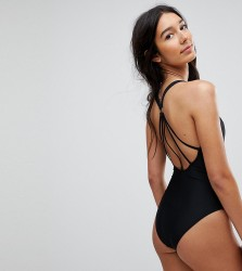 ASOS TALL Strappy Ring Back Swimsuit - Black