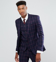 ASOS TALL Super Skinny Suit Jacket In Navy And Pink Windowpane Check - Navy