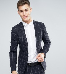 ASOS TALL Super Skinny Suit Jacket in Navy Check With Nep - Navy