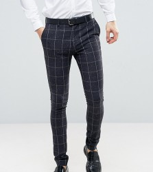 ASOS TALL Super Skinny Suit Trousers in Navy Check With Nep - Navy