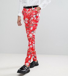 ASOS TALL Super Skinny Suit Trousers With Red Peacock Print - Red