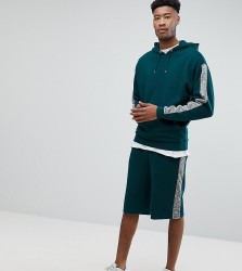 ASOS TALL Tracksuit Oversized Hoodie/ Oversized Shorts With Slub Panels - Green