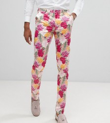 ASOS TALL Wedding Skinny Crop Smart Trousers In Pink Floral Print - Pink