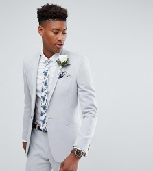 ASOS TALL Wedding Skinny Suit Jacket in Ice Grey Cross Hatch with Printed Lining - Grey