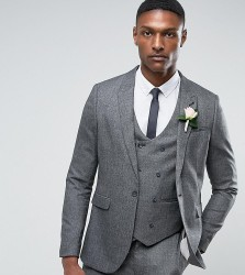 ASOS TALL WEDDING Skinny Suit Jacket In Slate Grey Woven Texture - Grey