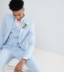 ASOS TALL Wedding Skinny Suit Jacket in Soft Blue Cross Hatch with Printed Lining - Blue