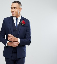 ASOS TALL Wedding Skinny Suit Jacket With Square Hem In Navy - Navy
