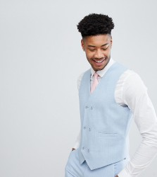 ASOS TALL Wedding Skinny Suit Waistcoat in Soft Blue Cross Hatch with Printed Lining - Blue