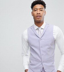 ASOS TALL Wedding Super Skinny Fit Suit Waistcoat In Lilac - Purple