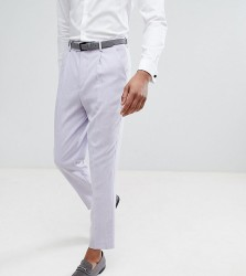 ASOS TALL Wedding Tapered Smart Trousers In Lilac Cross Hatch Nepp - Purple