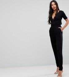 ASOS TALL Wrap Front Jersey Jumpsuit with Short Sleeve - Black