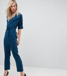 ASOS TALL Wrap Jumpsuit with Self Belt - Blue