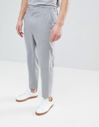 ASOS Tapered Smart Trouser In Light Grey Texture With Elasticated Back - Grey