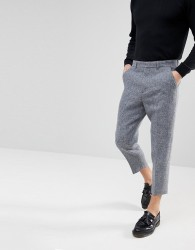 ASOS Tapered Smart Trousers in 100% Wool Harris Tweed In Light Grey Check - Grey