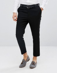 ASOS Tapered Smart Trousers In Black Waffle Fabric - Black
