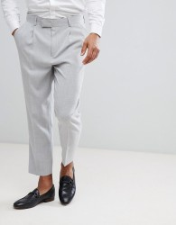 ASOS Tapered Smart Trousers In Ice Grey Cross Hatch Nepp - Grey