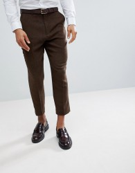ASOS Tapered Smart Trousers In Rich Brown Wool Mix Texture - Brown