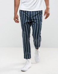 ASOS Tapered Smart Trousers In Stripe - Navy