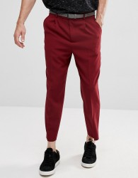 ASOS Tapered Smart Trousers With Pleats In Burgundy Cross Hatch Nep - Red