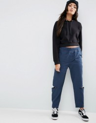 ASOS Tapered Trouser with Cut Out Knee - Navy