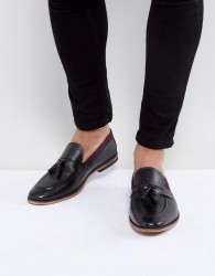 ASOS Tassel Loafers In Black Leather With Tape Detail - Black