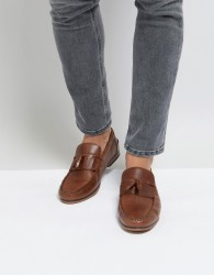 ASOS Tassel Loafers In Tan Leather With Fringe And Natural Sole - Tan