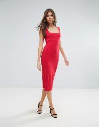 ASOS Thick Strap Square Neck Midi Bodycon Dress - Red