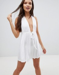 ASOS Tie Front Plunge Jersey Mini Beach Dress - White