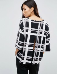 ASOS Top with Kimono Sleeve and Split Back in Window Pane Check Print - Multi