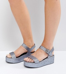 ASOS TOUCAN Wide Fit Wedge Sandals - Silver