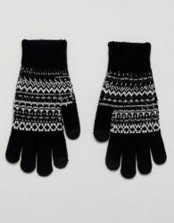 ASOS Touchscreen Gloves In Black With Fairisle Design - Black