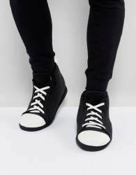 ASOS Trainer Slippers In Black and White - Black