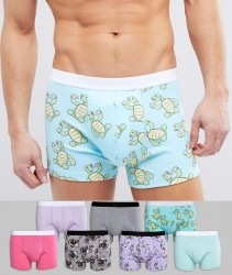 ASOS Trunks With Funny Animal Print 7 Pack - Multi