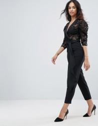 ASOS Tux Jumpsuit in Lace with Satin Trims - Black