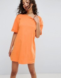 ASOS Ultimate T-Shirt Dress with Rolled Sleeves - Orange