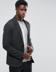 ASOS Unstructured Slim Blazer In Grey Texture - Grey
